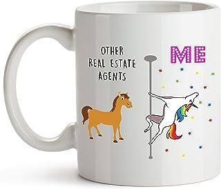 YouNique Designs Real Estate Agent Coffee Mug, 11 Ounces, White, Unicorn Mug (White)