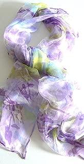 Silk Salon Oblong 100% Silk Scarf Belt Hand Rolled Edges Flower Lilac A667