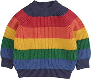 Peecabe Toddler Baby Boy Girl Colorful Striped Rainbow Print Knitted Pullover Sweater Cotton Warm Sweatshirt Tops for Kids