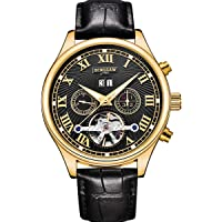 BINSSAW Men Mechanical Fashion Leather Strap Automatic Watch