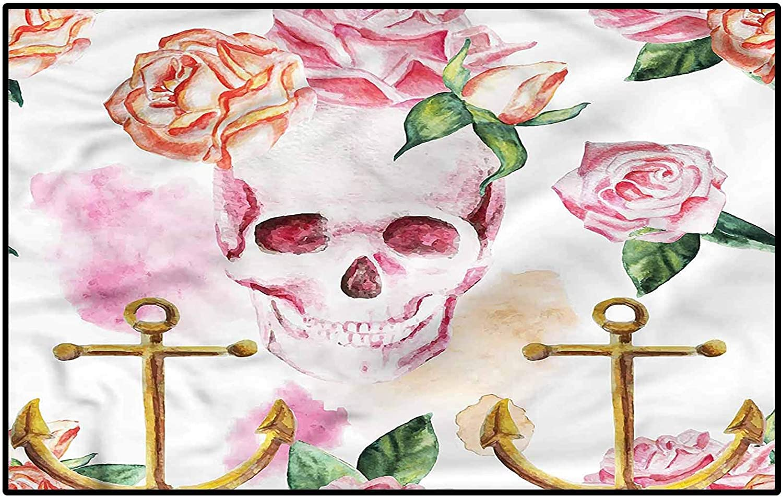 Price reduction Skull Rugs for Bedroom Girls Anchor Peony Art Roses Sale Boat Carpet
