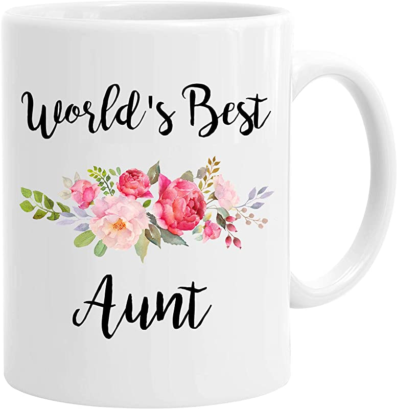 InterestPrint World S Best Aunt White Ceramic Coffee Mugs Office Tea Cups With Flowers For Auntie Sister Birthday Christmas Mother S Day Present From Niece Nephew Family 11 Ounce