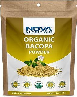 Nova Nutritions Certified Organic Bacopa Powder 16 OZ (454 gm) - Also Called Bacopa Monnieri (Leaf)