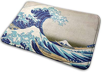 Wave Bath Mat Art Ocean Map Non Slip Japanese Folk Art Painting Super Bathroom Rug Indoor Carpet Doormat Floor Dirt Trapper Mats Shoes Scraper 24x16 Inch