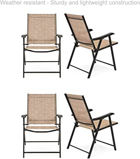 Koonlert@Shop Outdoor Patio Folding Sling Back Chair Sturdy Steel Frame Durable Lightweight Comfortable Breathable Stretchable Mesh Material Patio Porch Garden Furniture - Set of 4 Tan #1780(4)