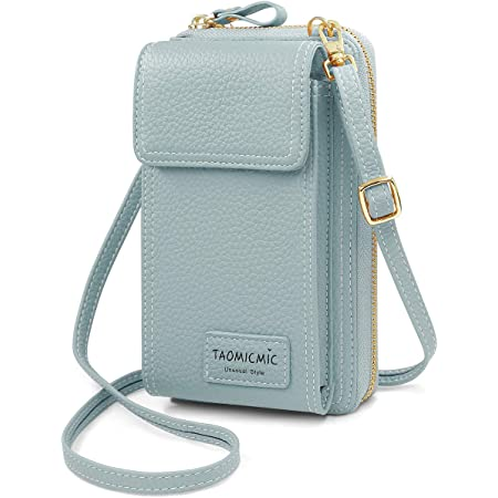 HNOOM Handytasche zum Umhängen PU Leder Handy Umhängetasche Damen Kleine Tasche für Handy und Geldbörse, geldbeutel mit handytasche Handy Portemonnaie Tasche für Reise/Party (Blau)
