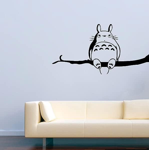 尺寸 22X35 日本动画奇幻电影乙烯基墙贴花卡通龙猫启发我的邻居龙猫树枝乙烯基贴纸壁画 MK3069