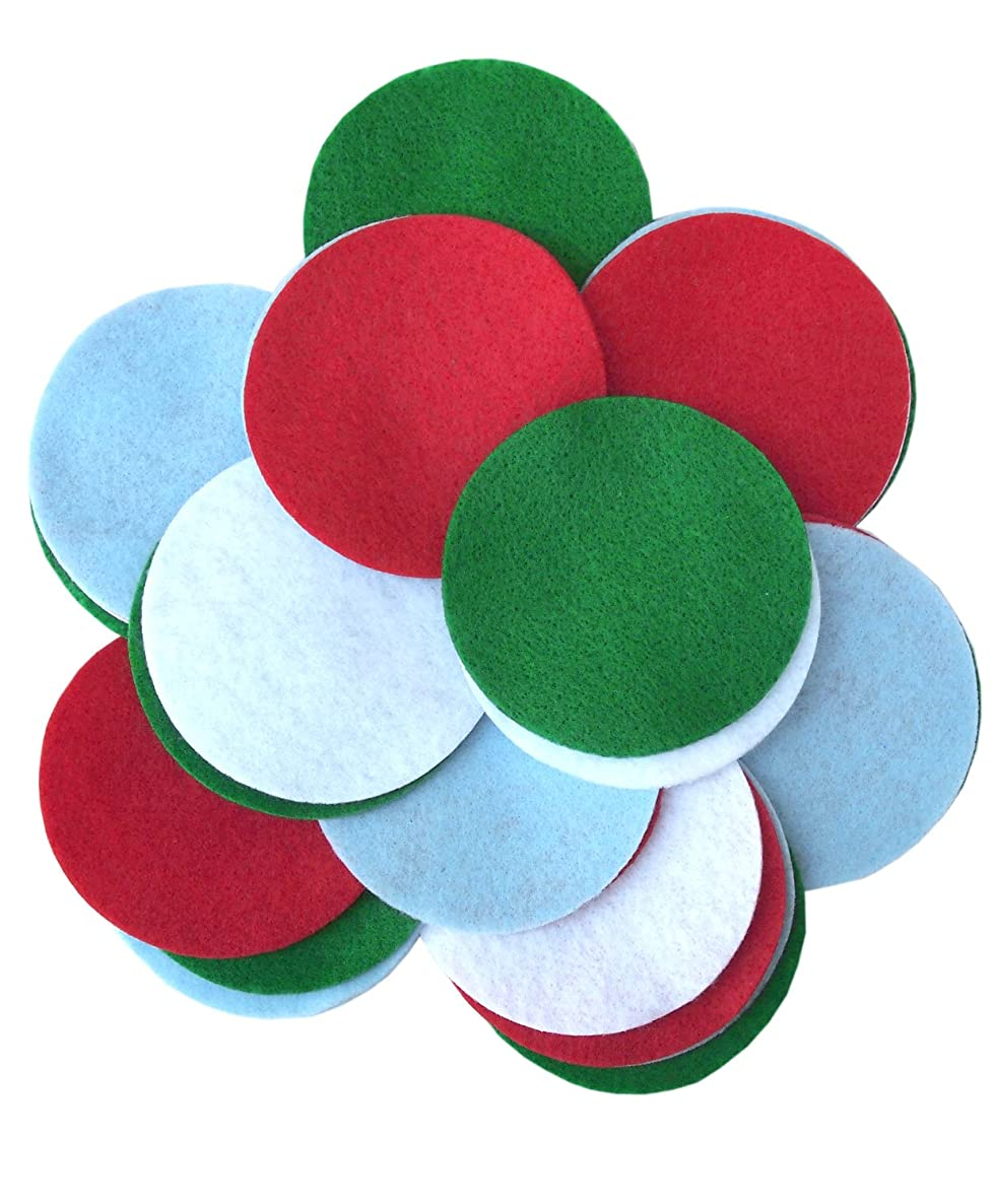 Playfully Ever After 4 Inch 16pc Felt Circles Color Combo Pack with Red, Light Blue, Green, White