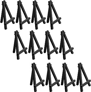 U.S. Art Supply Mini 5 inch Black Wood Craft, Business Card, Photo Display Easel (Pack of 12)