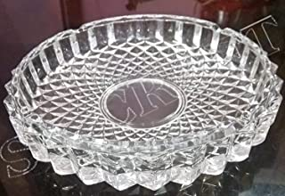 SK Craft Glass Crystal Cut Design Ash Tray (Diameter 19 cm, Transparent)