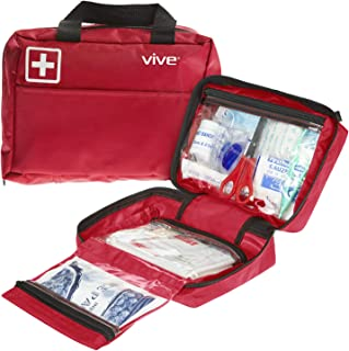 Vive First Aid Kit (300 Piece) - Survival Trauma Pack for Hurricanes, Earthquake, Car and Home - Small EDC Gear for Vehicle, Auto Car and Camping - Emergency Medical Supply Safety Bag with Gauze, Tape