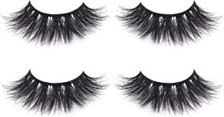 Fluffy 3D Faux Mink Lashes False Eyelashes Pack of 2,Mild Dramatic Eye Makeup Eyelash in High-grade Mirror Box Package with Lash Tweezer