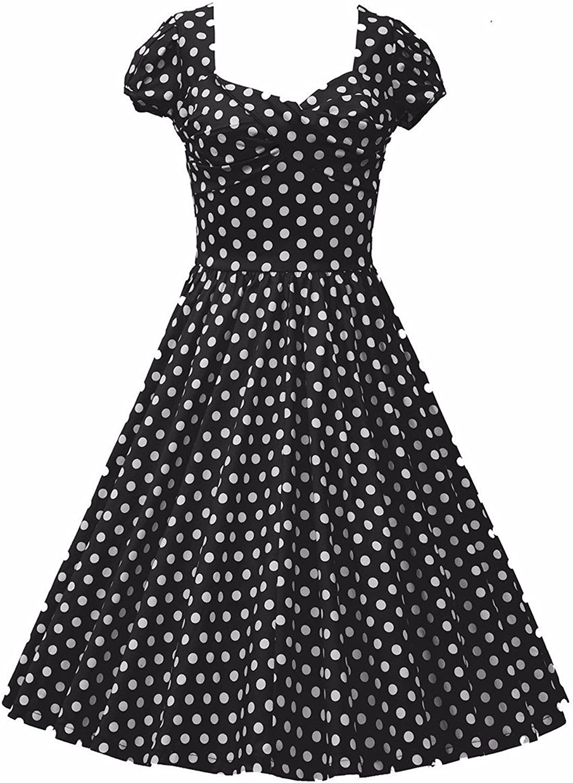 Samtree Womens Polka Dot Dress,Vintage Short Sleeve Rockabilly Swing Dresses