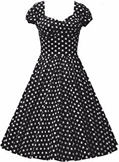Samtree Womens 1950s Style Short Sleeve Vintage Floral Polka Dot Swing Dress
