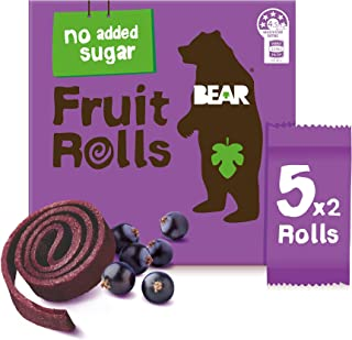 BEAR Real Fruit Rolls - Blackcurrant - Natural Fruit Snack - No Added Sugar - Gluten Free Snack - Vegan Fruit Snack - Heal...