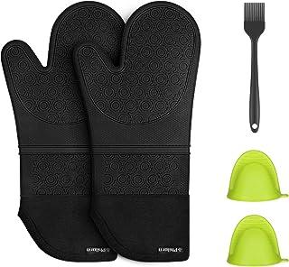 PHILORN Silikon Ofenhandschuh Grillhandschuhe Grill Lederhandschuhe Hitzebeständige Handschuh bis zu 230 °C Universalgröße Kochhandschuhe Backhandschuhe für BBQ Kochen Backen und Schweißen Schwarz