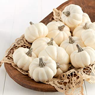 Factory Direct Craft Package of 12 Small Off White Baby Boo Artificial Pumpkins for Halloween, Fall and Thanksgiving Decorating