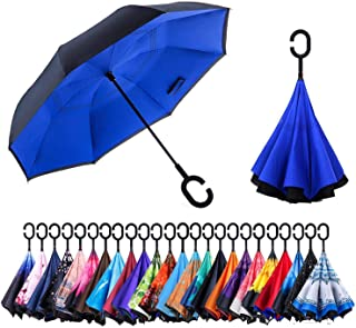 Dopobo Double Layer Inverted Umbrella Cars Reverse Umbrella Extremely Waterproof and Windproof Inverted Umbrella with C-Shaped Handle (DKBB)
