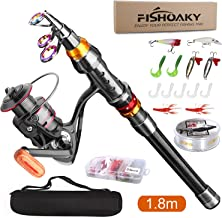 FISHOAKY Fishing Rod kit, Carbon Fiber Telescopic Fishing...