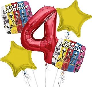 Power Rangers Balloon Bouquet 4th Birthday 5 pcs - Party Supplies