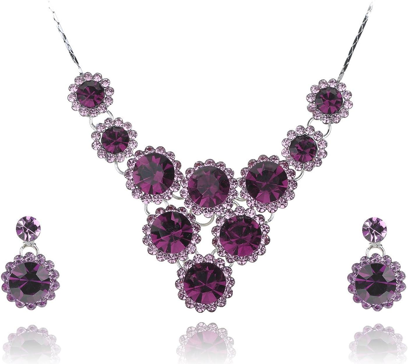 Alilang Swarovski Purple Multi Colored Floral Crystal Rhinestone Necklace Earring Set