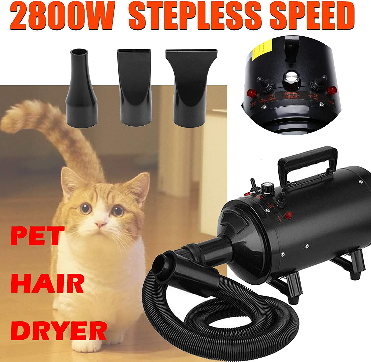 Pet Hair Dryer Cat Dog Grooming Shower Bath Blower 2800W 2 Wind Speed Adjustable Temperature Safety Heater Low Noise Dryer Blaster All Season Use 2.5M Flexible Hose with 3 Nozzles