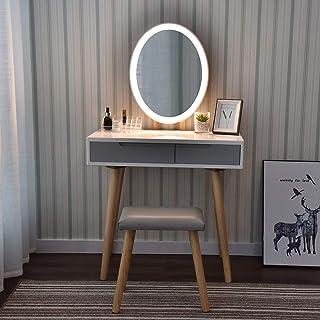 YU YUSING Tocador de Maquillaje con luz, 2 cajones, Organizador extraíble, Mesa cosmética con Taburete tapizado, para Dormitorio, vestidor, Moderno, Espejo Ovalado