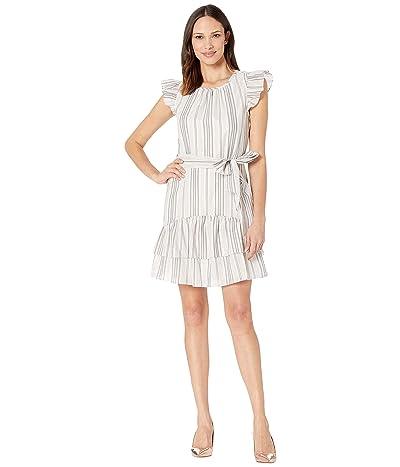 CeCe Flutter Sleeve Metallic Stripe Ruffled Dress (Soft Ecru) Women