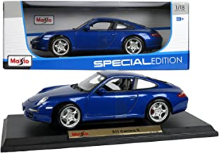 Maisto Special Edition Series 1:18 Scale Die Cast Car Set - Navy Blue High Performance Sports Car PORSCHE 911 CARRERA S with Base (Dim: 9