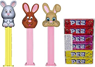 PEZ Candy Easter Bunny Dispensers and Candy Refill Set (Bundle of 4 Items) - 3 Easter Candy Dispensers and a Pack of 6 PEZ Candy Refills - Baby Bunny, Floppy Ear Bunny, and Brown Easter Rabbit