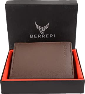 Berreri Mens Genuine Leather Wallet Soft RFID Safe Card Holder Purse Brown Navy (Enclosed in Box) (Brown)