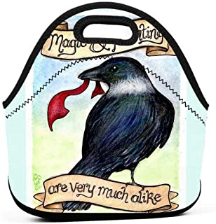 KILILY Kikis Delivery Service Illustration - Crow Men Women Kids Insulated Lunch Bag Tote Reusable Lunch Box For Work Picnic School