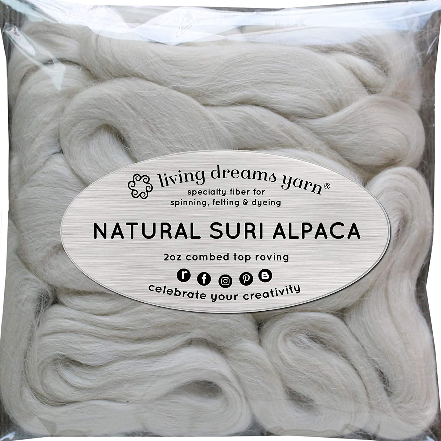 Suri Alpaca Fiber for Spinning Blending Felting Dyeing and Doll Making. Natural White Combed Top.