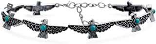 Southwestern Coachella Festival Style Eagle Peyote Bird Choker Necklace for Teen for Women Oxidized Metal Adjustable