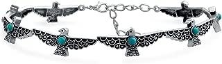 Bling Jewelry Southwestern Coachella Festival Style Eagle Peyote Bird Choker Necklace for Teen for Women Oxidized Metal Adjustable