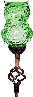Exhart Solar Green Glass Owl Honeycomb Finial Yard Stake - Crystal Owl Metal Stake w/Solar LED Lights - Owl Figurine Ground Stake, Owl Glass Stake, Solar Owl Garden Stake, 2.7