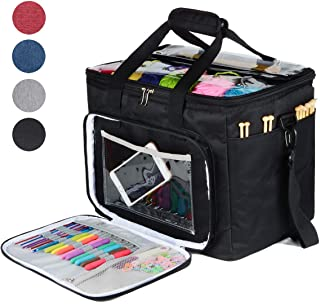 "Hoshin Knitting Bag for Yarn Storage, High Capacity Yarn Totes Organizer with Inner Divider Portable for Carrying Project, Knitting Needles(up to 14""), Crochet Hooks, Skeins of Yarn (Black)"