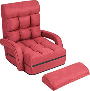 Giantex Folding Lazy Sofa Floor Chair Sofa Lounger Bed with Armrests and a Pillow Lounger Bed Chaise Couch (Red)