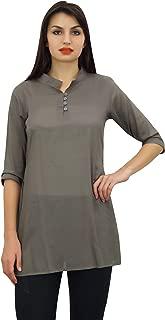 Phagun Women's Cotton Modal 3/4 Sleeve Button Down Blouse Shirt Top