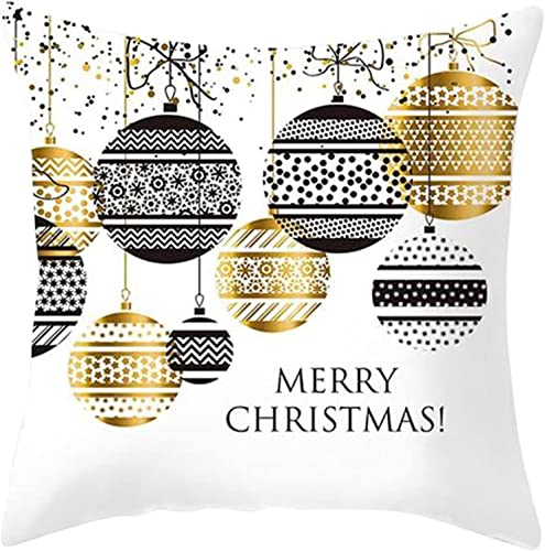 new arrival RiamxwR Christmas Throw Pillow Cover - Merry outlet sale Christmas Lettering Gold lowest Patterns Square Home Cushion Sofa Pillow Case for Christmas Decoration, 18x18 Inches (Style F) online sale