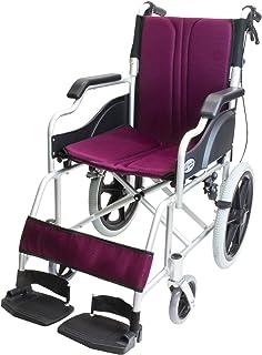 ケアテックジャパン 介助式車椅子 ハピネスコンパクト -介助式- CA-13SU (ワインレッド(小豆色))