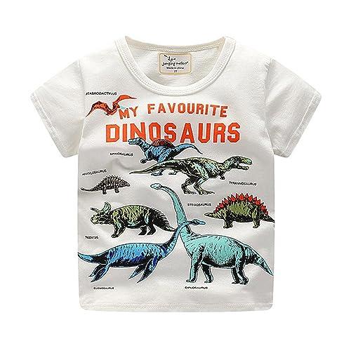 Webla Toddler Kids Baby Boys Short Sleeve Dinosaur Print Summer Tops T-Shirt Ages 1 to 6 Years (4-5T, White)