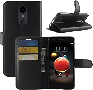 LG Aristo 2 Case, Fettion Premium PU Leather Wallet Flip Phone Protective Case Cover with Card Slots for LG Aristo 2 / LG Tribute Dynasty/LG K8 2018 / LG LV3 2018 / LG X210 Smartphone (Black)