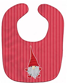 Caroline's Treasures Christmas Gnome Happy Baby Bib, Red, Large