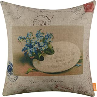 LINKWELL 18x18 inches Merry Christmas Greetings and Blue Flower Burlap Throw Cushion Cover Pillow Cover CC1386