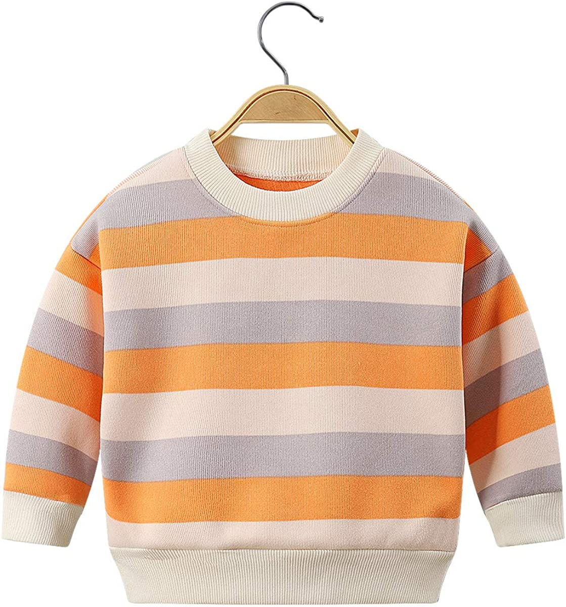 Ctskyte Toddler Unisex Kids Fleece Long Sleeve Pullover Sweatshirt Stripes Kids Crew-Neck Sweater