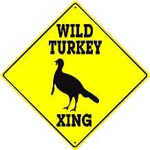 Wild Turkey Xing Crossing Caution Animal Farm Ranch Funny Hunter Novelty Road Wall Décor Diamond Metal Aluminum 12