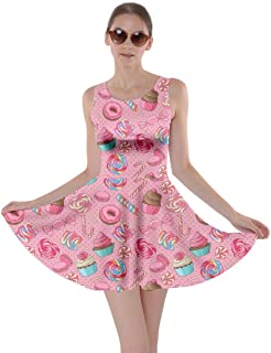 Womens Cookies Lollipop Candy Macaroon Icecream Coffee Food Dessert Skater Dress, XS-5XL