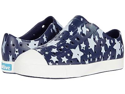 Native Kids Shoes Jefferson Stars and Stripes Print (Little Kid) (Regatta Blue/Shell White/Multi Stars) Kids Shoes