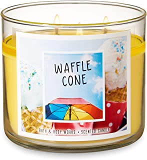Bath and Body Works Waffle Cone Candle - Large 14.5 Ounce 3-Wick Candle - Limited Edition Summer Candle